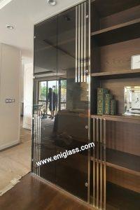 Огледални стъклени врати -кафяво огледало за шкаф във всекидневна