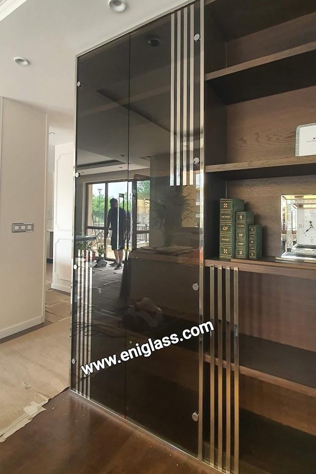 Огледални стъклени врати -кафяво огледало за шкаф във всекидневна с нестандартни размери