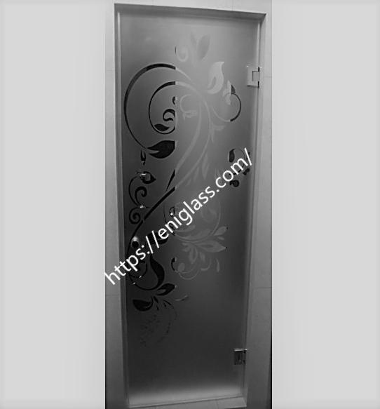 стъклена врата шарка мат