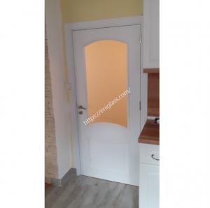 Интериорна врата Дона бяла със стъкло шарка мат