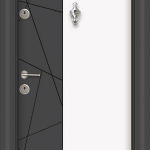 L 308 Антрасит бяла входна врата